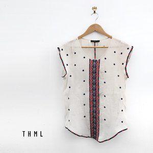 THML Cream Cap Sleeve Embroidered Blouse Medium